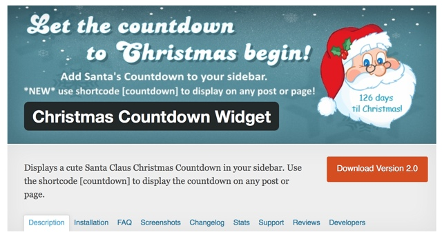 Christmas Countdown WP Widget
