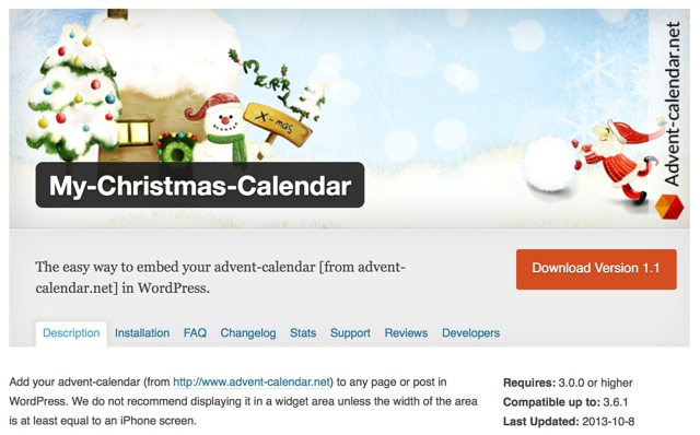 My Christmas Calendar WP Plugin